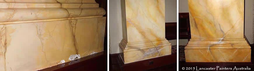 Adelaide Town Hall Column Bases Faux Marble Repair Work