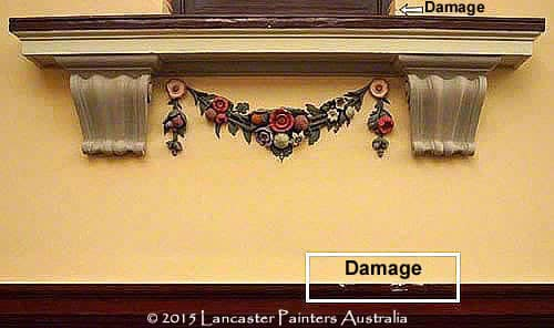 Adelaide Town Hall Damaged Coffers & Garlands