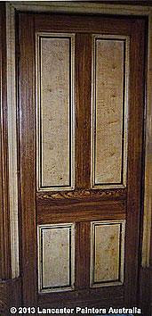 Faux Oak Wood Grain with Walnut Wood Grained Panels