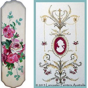 Floral Painted Fingerplate Hand Painted Cameo