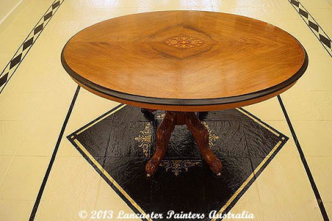 French Polished Table and Hand Painted Floor Design