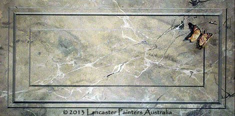 Grey Faux Marble Coffer with Hand Painted 3D Butterfly Art