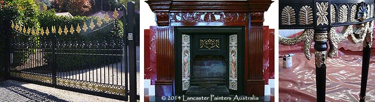 Heritage Gilding of Front Gates Fireplace Plate and Furniture
