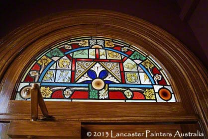 Highroyd House Stained Glass with Hand Painted Oak Wood Grain Frame