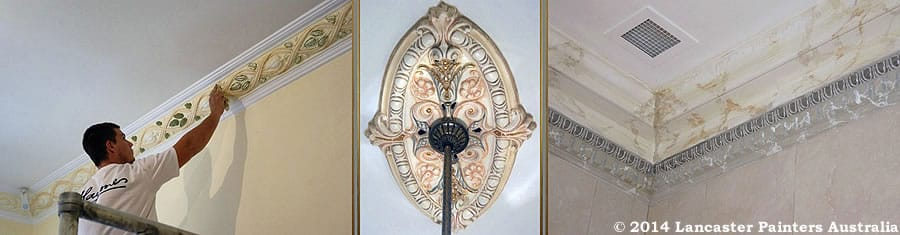 Decorative Finishes Applied To Kensington House Ceiling Roses & Cornices