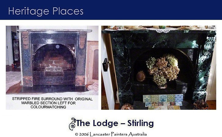 Before and After Photos of Marbled Fireplace in The Lodge